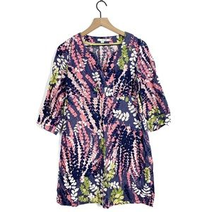Boden Linen Floral Botanical Leaf Tunic Dress 6 R